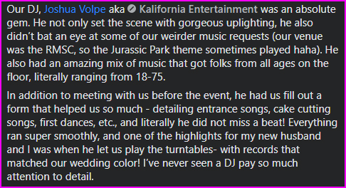 5 Star Wedding DJ Review