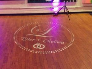 Rochester DJ   Artisanworks Wedding   Custom Floor Monogram