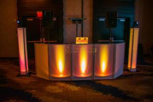 Hyatt Rochester Downtown | Harry Potter Wedding Reception | Custom amber DJ set up | Rochester DJ | Rochester Wedding and Event Entertainment