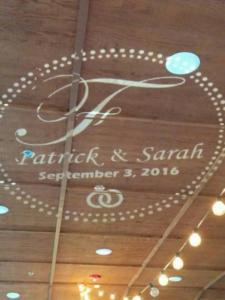 Rochester DJ   Ravenwood Weddings   Custom Monogram On The Ceiling