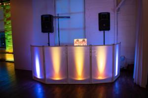 Arbor Loft Wedding Reception | Custom white DJ set up | Rochester DJ | Rochester Wedding and Event Entertainment