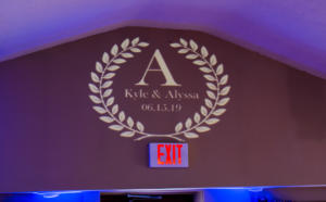Rochester Wedding DJ | Glendoveers Reception | Custom Wall Monogram
