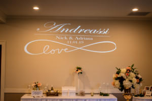 Andreassi Wedding | Rochester DJ | Deerfield Country Club | Custom Wall Monogram
