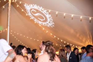 Rochester DJ   Back Yard Tent Weddings   Custom Tent Ceiling Monogram